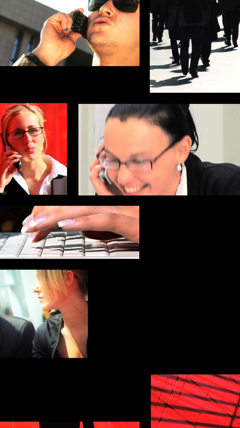 Vertical montage of business people using modern technology Stock Video Footage
