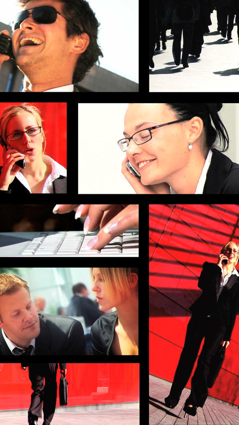 Vertical montage of business people using modern technology ภาพวิดีโอ