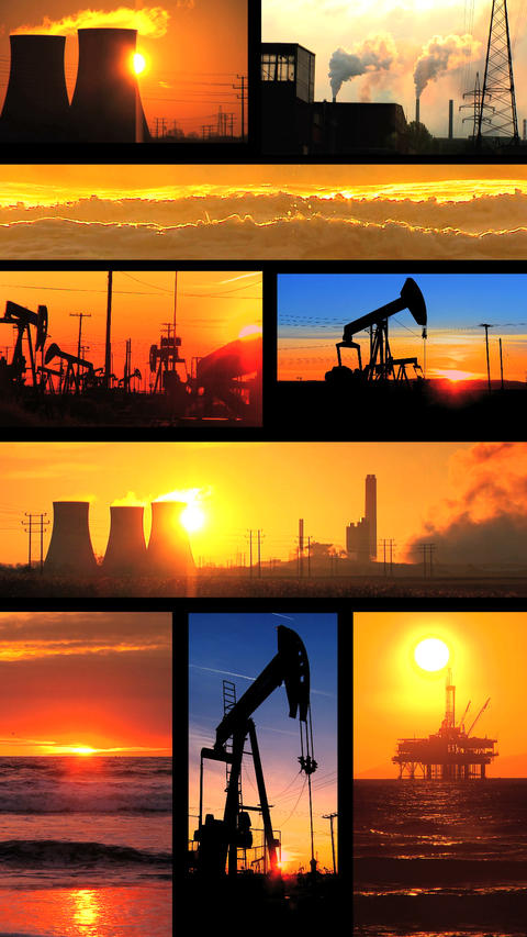 Vertical montage of non-sustainable energy production images Stock Video Footage