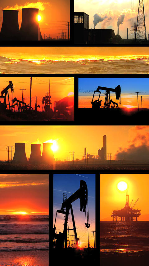 Vertical montage of non-sustainable energy production images ภาพวิดีโอ