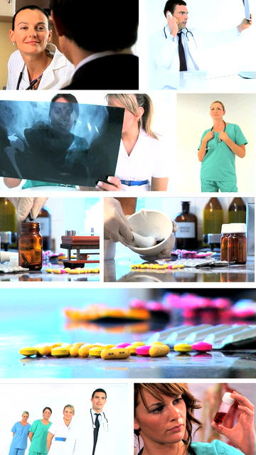 Vertical montage of medical healthcare scenes/images Footage