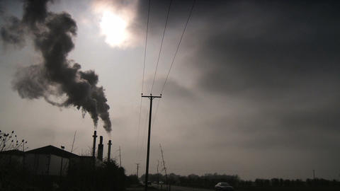 Black Smoke From A Furnace Being Pumped Into The Atmosphere stock footage