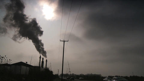 Black smoke from a furnace being pumped into the atmosphere Stock Video Footage