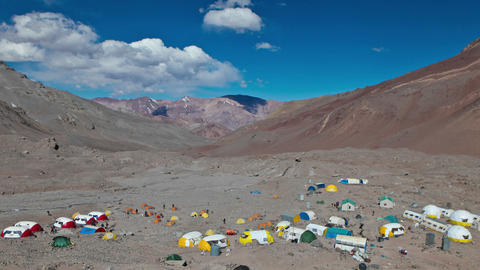Aconcagua Time Lapse Wide shot of Plaza Argentina Stock Video Footage