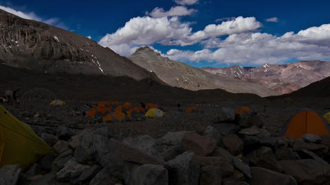 Aconcagua Time Lapse Plaza Argentina with tents Stock Video Footage