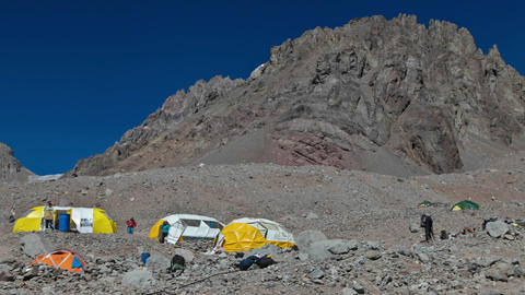 Aconcagua Time Lapse Plaza Argentina climbers climbing Stock Video Footage