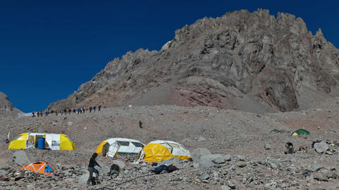 Aconcagua Time Lapse Plaza Argentina climbers climbing Footage