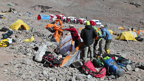 Aconcagua Time Lapse - Climbers packing at basecamp Stock Video Footage