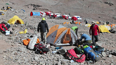 Aconcagua Time Lapse - Climbers packing at basecamp Footage