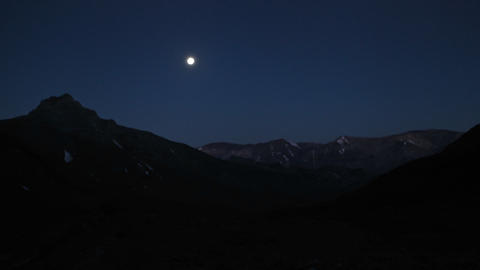 Aconcagua Time Lapse - Moon rising at Plaza Argentina Stock Video Footage