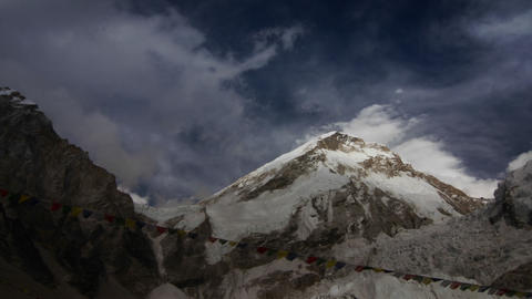 Clouds moving above Lho La and Icefall Stock Video Footage