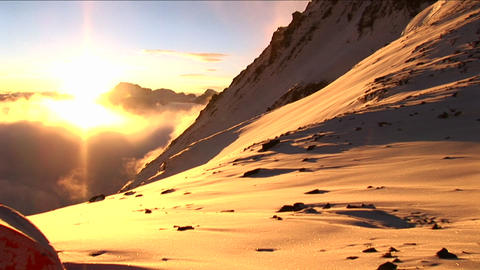 Pan from tent to Everest Stock Video Footage