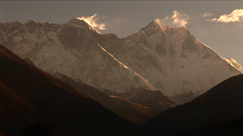 Mount Everest and Lhotse from afar Stock Video Footage