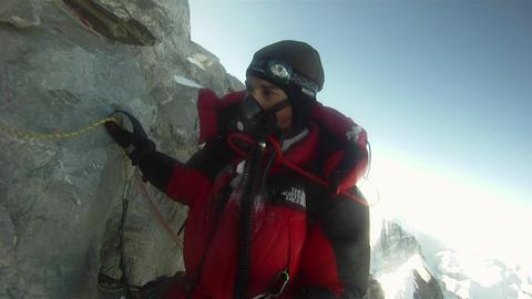 Climber negotiates Hilary Step Stock Video Footage