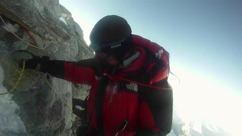 Climber negotiates Hilary Step Footage