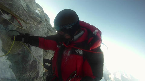 Climber negotiates Hilary Step Stock Video Footage