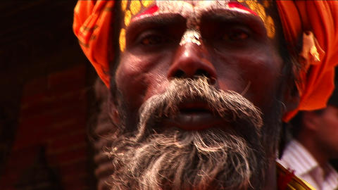 Sadhu on the streets of Kathmandu Stock Video Footage