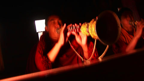 Monks playing musical instruments Stock Video Footage