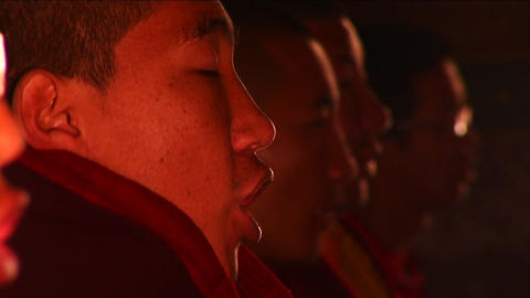 Monks in temple chanting Footage