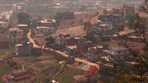 Pan of houses on outskirts of Kathmandu Footage