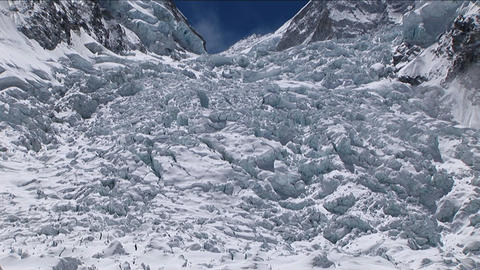 Pan up of Khumbu icefall from basecamp Footage