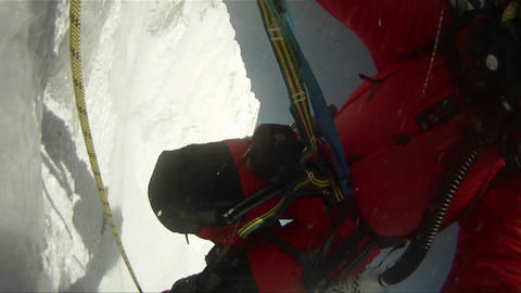 Strong winds batter climber on Lhotse face Stock Video Footage
