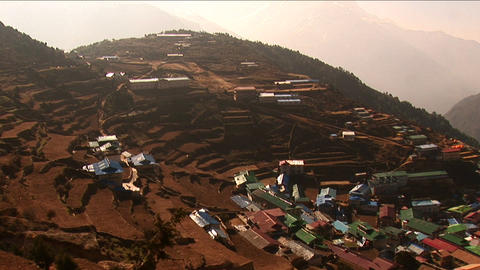 Pan of Namche Bazaar from above Stock Video Footage
