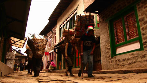 Porters walking through Lukla. Footage