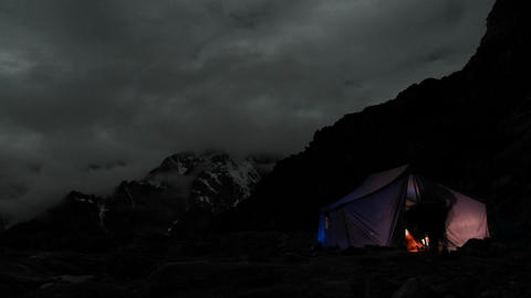 Tent at night climbers in and out Footage