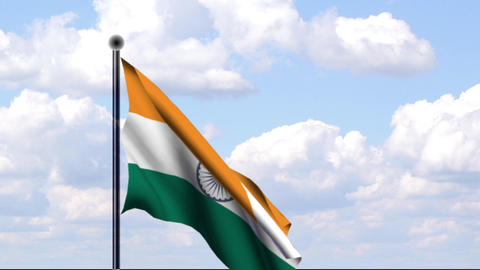 Animated Flag of India / Indien Stock Video Footage