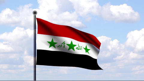 Animated Flag of Iraq / Animierte Flagge von Irak Stock Video Footage