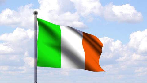 Animated Flag of Ireland / Irland Stock Video Footage