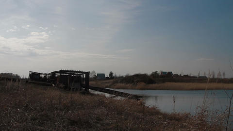 pumping station on the shore Stock Video Footage