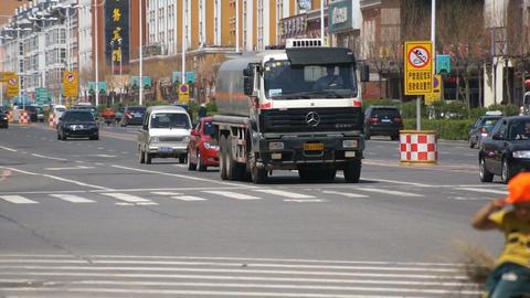 China town of Heihe Tielu street traffic Stock Video Footage