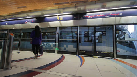 DUBAI - APRIL 25: Dubai Metro With Passengers. Mos Footage
