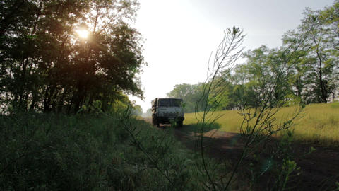 Truck On A Rural Road Stock Video Footage