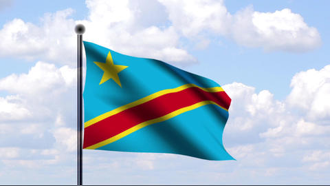 Animated Flag of Democratic Republic of the Congo Stock Video Footage