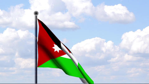 Animated Flag of Jordan / Jordanien Stock Video Footage