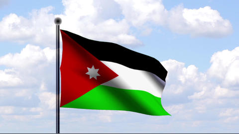 Animated Flag of Jordan / Jordanien Stock Video Footage