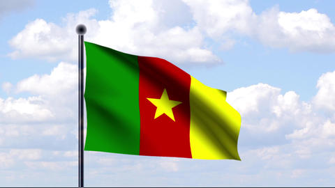 Animated Flag of Cameroon / Kamerun Stock Video Footage