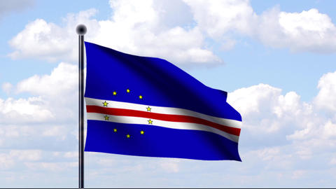 Animated Flag of Cape Verde / Kap Verde Stock Video Footage