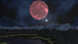 Pink moon and UFO Stock Video Footage