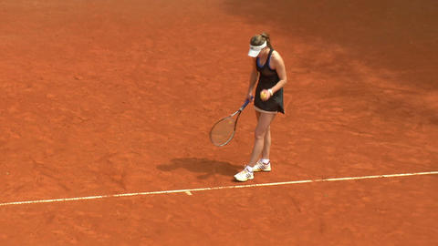 tennis girl black 02 Stock Video Footage