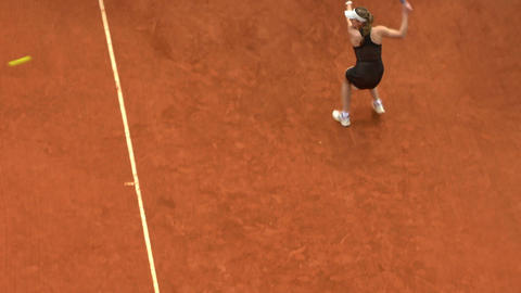 tennis girl black forehand 01 Stock Video Footage