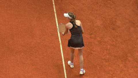 tennis girl black serve 03 Stock Video Footage