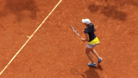 tennis girl blue yellow game 02 Stock Video Footage