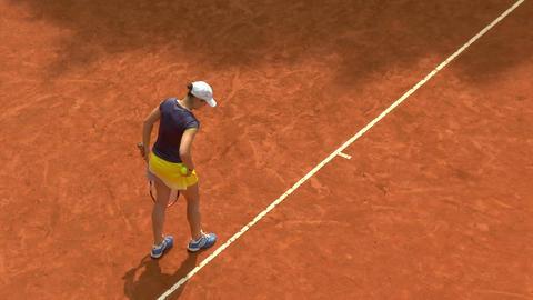 tennis girl blue yellow serve 01 Stock Video Footage