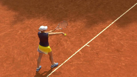 tennis girl blue yellow serve 01 Stock Video Footage