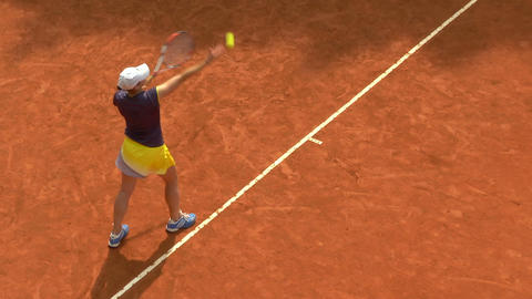 tennis girl blue yellow serve forehand 01 Footage