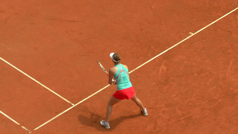 tennis girl green red forehand 01 Stock Video Footage
